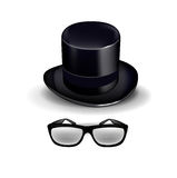 Black retro hat with glasses  isolated on white Royalty Free Stock Photo
