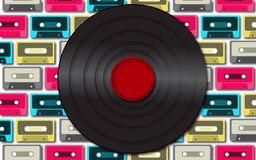 Black retro, hipster, old, old, musical antique vinyl record against a background of multi-colored audio cassettes. Vector illustration Stock Photography