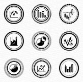 Black retro labels and badges: business statistic. Black retro stamps with icons Royalty Free Stock Photo