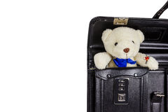 Black retro leather schoolbag with teddy bear isolated on white Stock Images