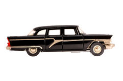 Black retro limousine old scale model isolated Stock Photos