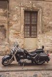 Black retro motorcycle. Royalty Free Stock Photos