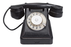 Black retro phone. Isolated on white background Royalty Free Stock Photos
