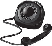 Black Retro Phone. Off The Hook Black Retro Phone Stock Image