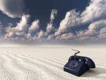 Black retro phone in desert. High resolution 3D illustration black retro phone in desert Stock Images