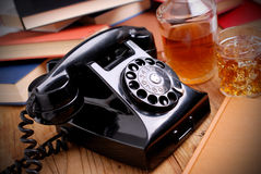 Black retro phone Stock Photography