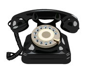 Black retro phone isolated Royalty Free Stock Photos