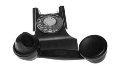 Black retro phone isolated on white background Royalty Free Stock Photo