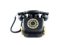 Black Retro Phone - Vintage Telephone isolated on  Stock Images