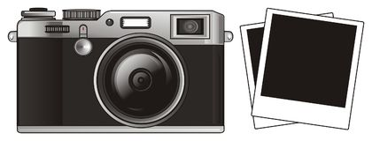 Apparatus with photos. Black retro photo apparatus with two photos Royalty Free Stock Photography