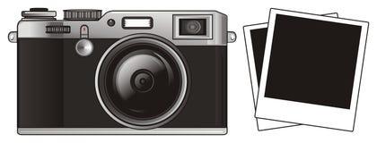 Apparatus with photos. Black retro photo apparatus with two photos Royalty Free Stock Photography
