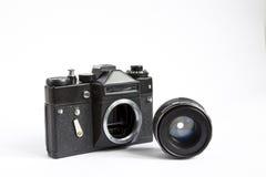 Black Retro Photo Camera With Lense Isolated On White Background Royalty Free Stock Images