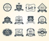 Black retro sales labels icons collection Royalty Free Stock Images