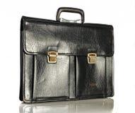 Black retro schoolbag, isolated on white background Stock Photography