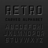 Black retro style carved alphabet Royalty Free Stock Photography