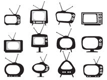 Black retro tv icons set Royalty Free Stock Photography