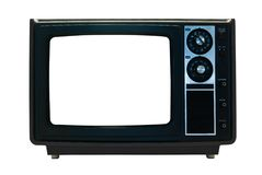 Black Retro TV Isolated with Clipping Paths. Retro TV Isolated with Clipping Paths. File contains three clipping paths. One for the outline, one for the screen Stock Photo