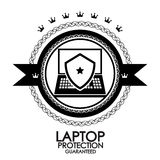 Black retro vintage label laptop protection stamp Royalty Free Stock Photo
