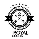 Black retro vintage label royal stamp Royalty Free Stock Photos