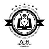 Black retro vintage label wi-fi protection Stock Images