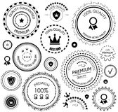 Black retro vintage quality guarantee labels. | tags | badges | stamps | design elements isolated on white. Eps10 vector set Stock Photo