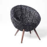 Black Retro Wicker Chair Stock Photography