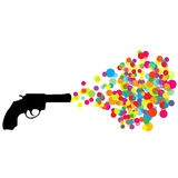 Black revolver with colored bubbles Stock Images