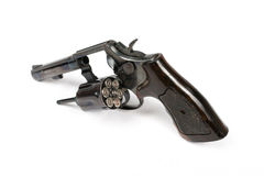 Black revolver gun isolated on white background Royalty Free Stock Image