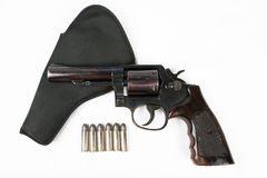Black revolver gun isolated on white background Stock Photography