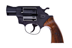 Black revolver on a white background Royalty Free Stock Photo