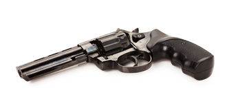 Black revolver on the white background Stock Image