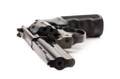 Black revolver on the white background.  Stock Photos