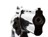Black revolver on the white background Stock Photography