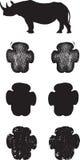 Black Rhino tracks or footprints. A pair of realistic Black Rhino tracks done in 3 illustration styles Stock Photos