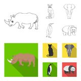 Black rhinoceros, panther wild cat, African animal elephant, imperial penguin. Wild animals set collection icons in. Outline,flat style vector symbol stock Stock Photos