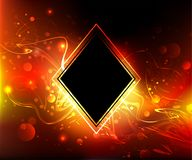 Black rhombus on a fire background. Black rhombus banner on a fiery, red background with bright sparks. Fiery background Stock Images