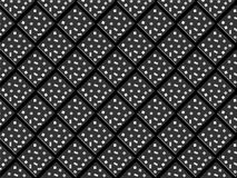 Black rhombuses and squares with white dots in seamless pattern. 3D decorated black rhombuses with bright spots in a repeating pattern. futuristic geometric Stock Photo