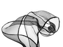 Black  ribbon. Black tulle ribbon on white background Stock Photography
