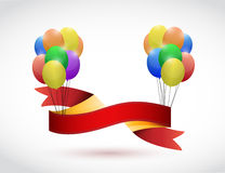 Black ribbon and balloons illustration design Royalty Free Stock Photos