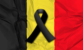 Black ribbon for Belgium Stock Photos