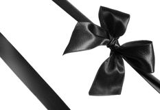 Black ribbon and bow Royalty Free Stock Photos