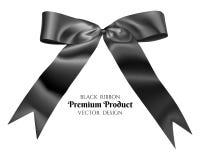 Black ribbon and bow. Royalty Free Stock Photo