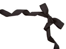 Black ribbon and bow isolated Stock Photography