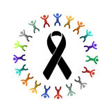 Black ribbon and diversity people around. Royalty Free Stock Image
