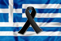 Black ribbon for Greece. Black ribbon on the flag of Greece in memory of victims of the fire Royalty Free Stock Images