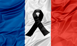 Black ribbon France Royalty Free Stock Photo