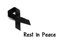 Black ribbon for mourning with rest in peace text. On white background Stock Photography
