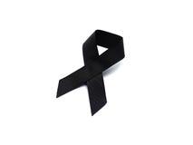 Black ribbon for mourning on white background Royalty Free Stock Photos