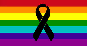 Black ribbon over a pride flag. Stock Images