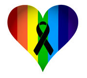 Black ribbon over a pride rainbow heart flag. Royalty Free Stock Photography